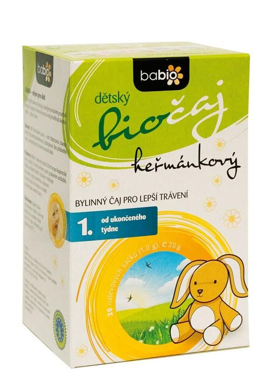 BABIO Dětský heřmánkový čaj 20 nálevových sáčků 1.5 g BIO