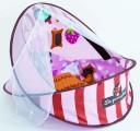 Cestovní postýlka / deka s hrazdou růžová Ludi