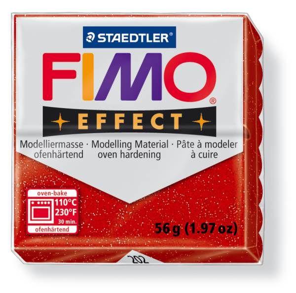 FIMO Effect 56g blok - červená- třpytivá (efekt) Staedtler