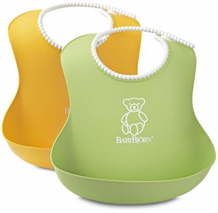 Bryndáky měkké BabyBjörn Soft Bib bez PVC 2 ks Green-Yellow zelený a žlutý