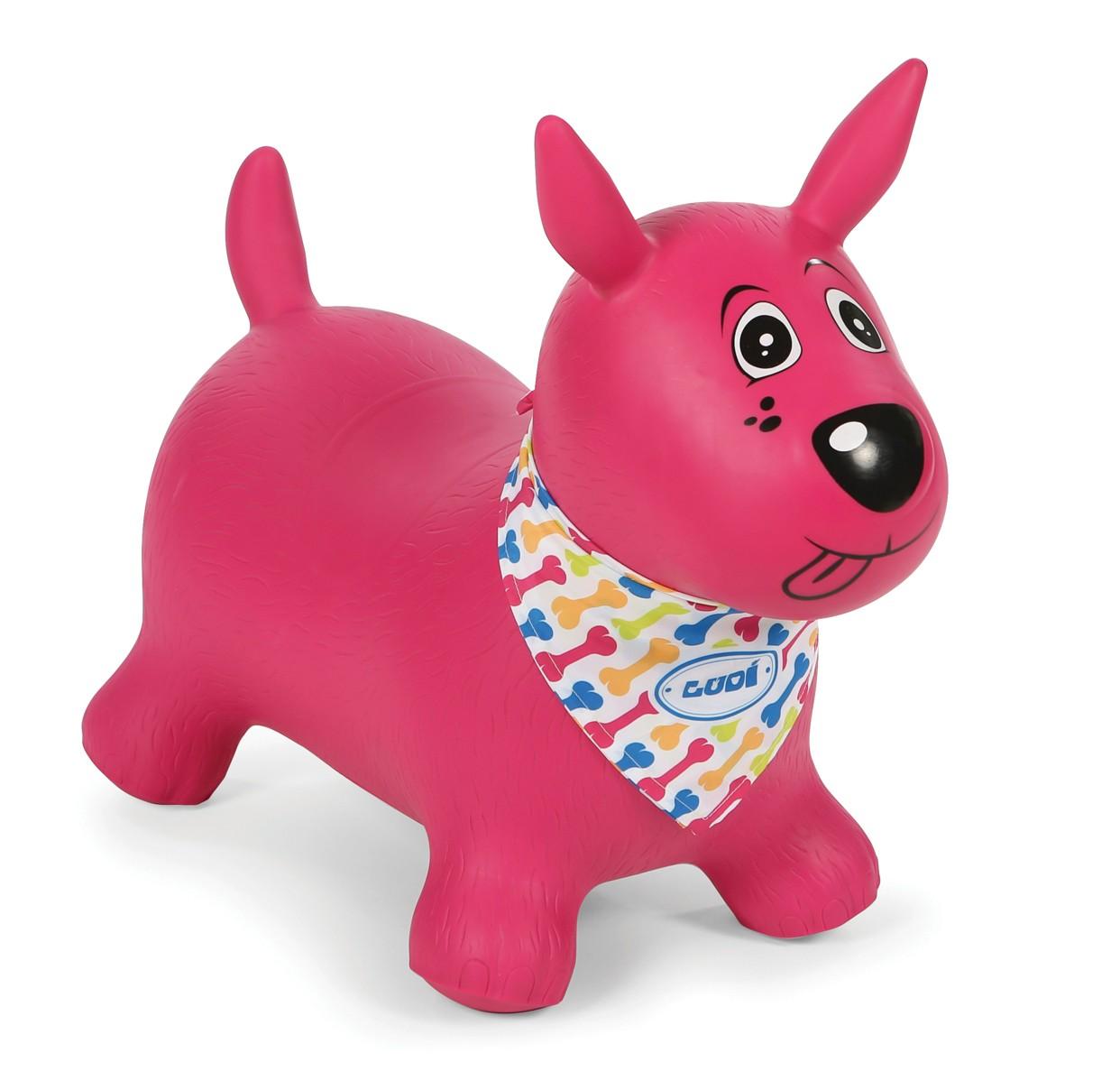 Skákací nafukovací pes růžový Ludi