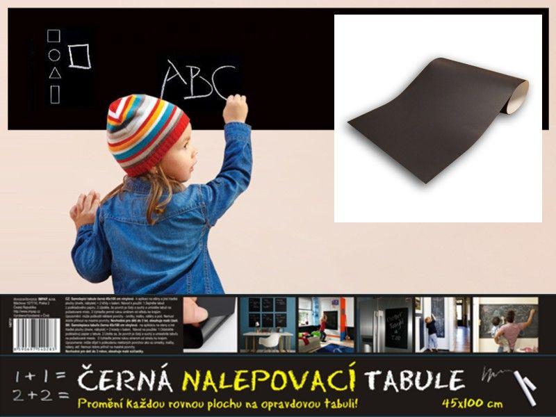Černá samolepící tabule 45x100 cm + 2 křídy