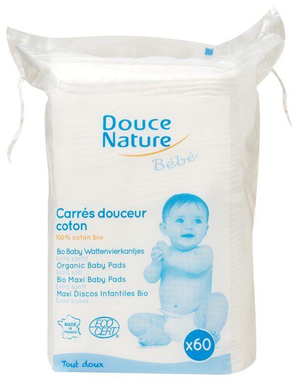 Čistící polštářky z biobavlny pro miminka (extra jemné) Douce Nature 60 ks