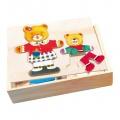 Šatní skříň Medvědice + mládě Lea + Otto puzzle Bino 88023