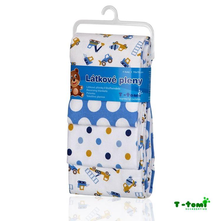 T-Tomi Látkové pleny, sada 4 kusů, modrý bagry