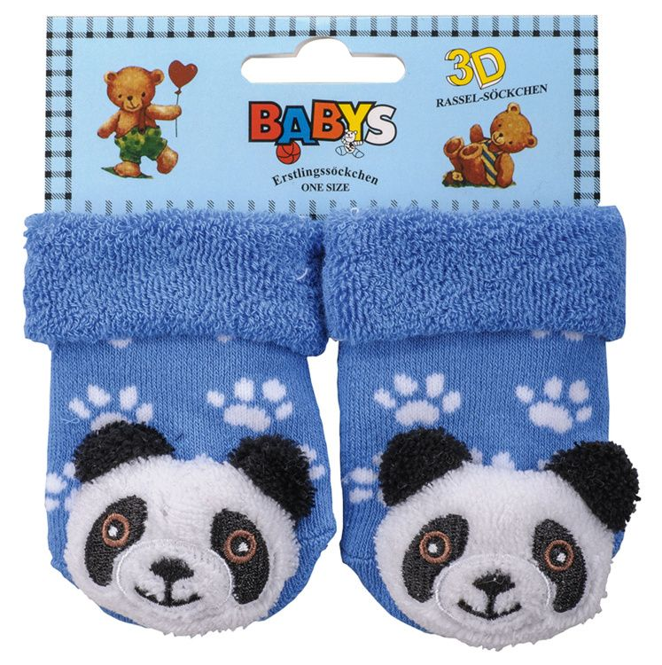 Chrastící kojenecké ponožky 3D panda 0- 4 měsíců