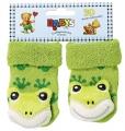 Chrastící kojenecké ponožky 3D žába 0- 4 měsíců