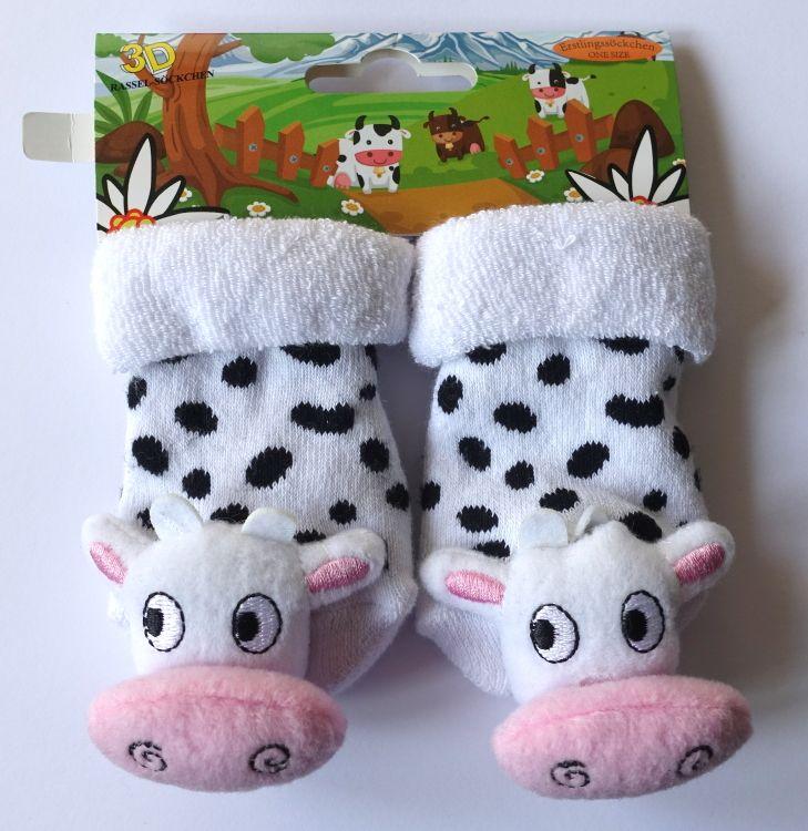 84d50d20661 Chrastící protiskluzové kojenecké ponožky 3D kravička 0- 4 měsíců ...