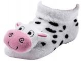 Chrastící protiskluzové kojenecké ponožky 3D kravička 0- 4 měsíců