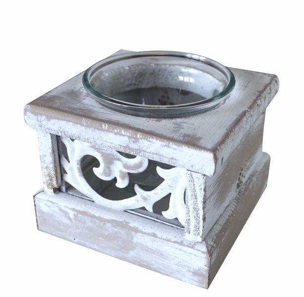 Dřevěný čajový svícen