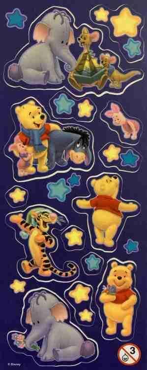 Samolepky Disney Medvídek Pů svítící ve tmě - arch C