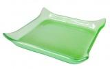 Skleněná podložka pod svíčku - svícen - zelené sklo