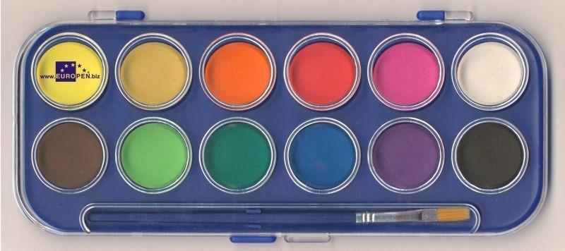 Vodové barvy 30 mm - 12 barev + štětec