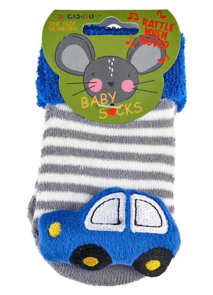 Chrastící kojenecké ponožky 3D auto 0- 4 měsíců