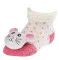 Chrastící kojenecké ponožky 3D kočička 0- 4 měsíců
