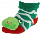 Chrastící kojenecké ponožky 3D žába červená 0- 4 měsíců