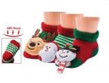 Chrastící protiskluzové kojenecké ponožky 3D vánoční - sob 0- 4 měsíců