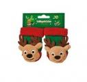 Chrastící protiskluzové kojenecké ponožky 3D vánoční - sob 0 - 4 měsíců