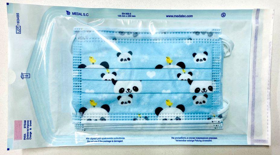 Dětská ústenka - rouška modrá Panda - 5ks Steriwund
