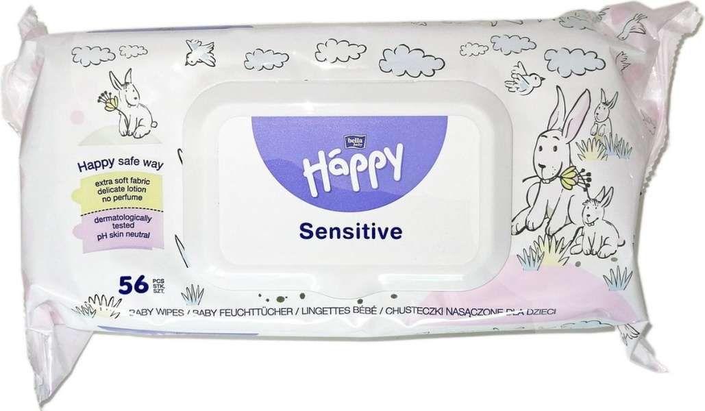 Kojenecké vlhčené čistící ubrousky sensitive s aloe vera 56 ks Bella Happy Baby